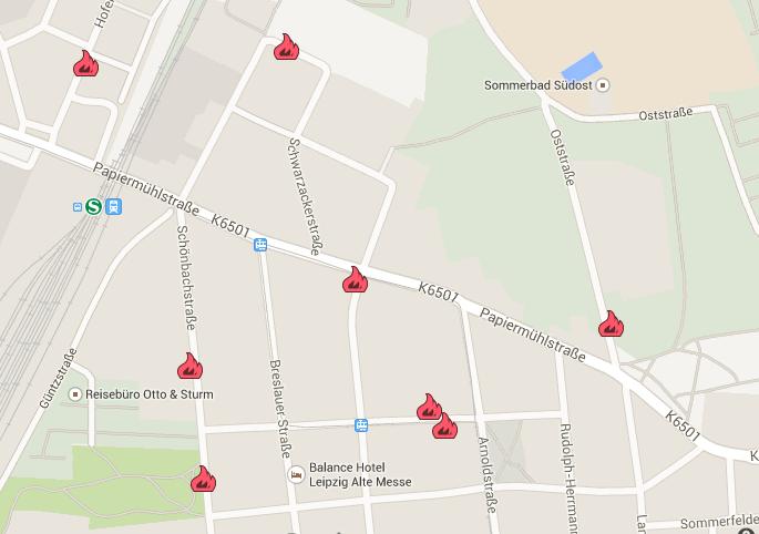 Immer wieder kommt es zu Bränden in Stötteritz. Beim Klick auf die Karte öffnet sich diese in Google Maps. Hier sind weitere Informationen zu den orten, Zeiten und Schäden hinterlegt.